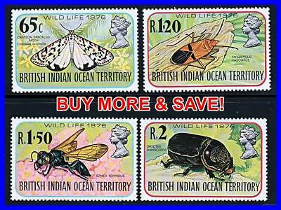British Indian Ocean Terr./biot 1976 Insects Mnh Beetles, Butterflies