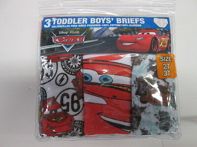 Disney Cars Lightning McQueen  3 boys briefs underwear SIZE 2T/3T BRAND NEW!