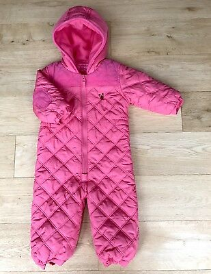NEXT *BABY GIRLS Pink QUILTED WINTER SNOWSUIT Fleece Lined AGE 12 - 18 MONTHS