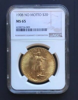 1908 $20 St. Gaudens Gold Double Eagle No Motto MS-65 NGC