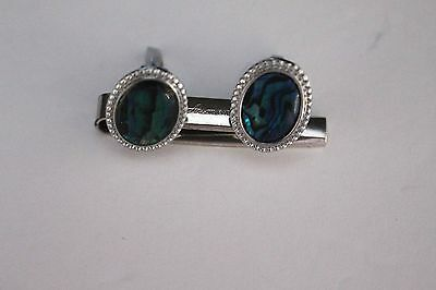 Vintage Men's Silver Tone Blue/Green Stone Cufflinks