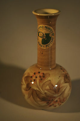 "Jersey Pottery Stem Vase - Signed ""C L"" Hand Painted Floral   -  #2004"