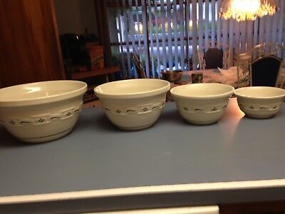 LONGABERGER WOVEN TRADITIONS HERITAGE GREEN MIXING BOWL SET ( 4 ) Unused