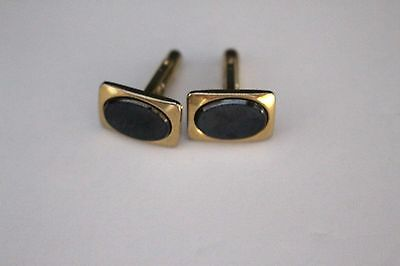 Vintage Black Onyx Glass Stone Cufflinks
