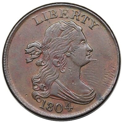 1804 Draped Bust Half Cent, Spiked Chin, C-6, LDS, Manley 9.0, XF+