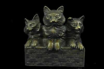 Sculpture Statue Cat Family Art Deco Bronze Collectible Gift