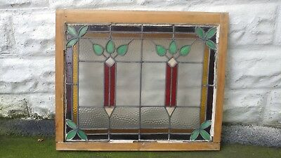 """Beautiful Stained Glass Window 29 1/2 x 24 5/8"""" Architectural Salvage"""
