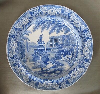 "Antique STAFFORDSHIRE BLUE TRANSFERWARE PLATE Deer Fountains Unmarked 10"" NICE!"