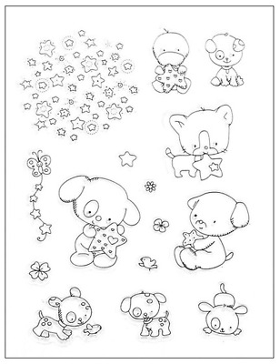 Clear cling stamp for Card making & stamping Unbranded CUTE PUPPY DOGS & DUCK
