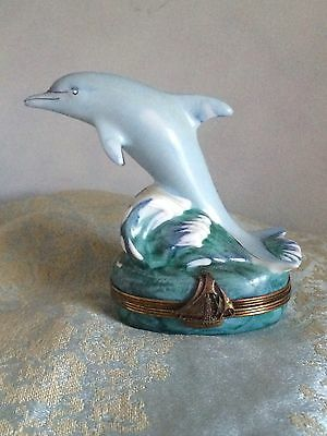 Limoges Dolphin Wave Sailing Ship Clasp Trinket Box