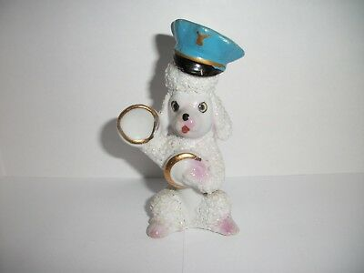 Vintage White Spaghetti Fur Poodle wearing Policeman hat~playing cymbals
