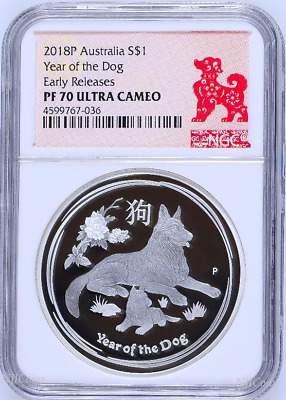2018 P Australia PROOF Silver Lunar Year of the DOG NGC PF70 1 oz $1 Coin ER
