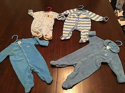 4 Baby Boys Clothes 0-3 Month Size 000 Sleepers Pajamas Outfits