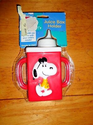New-Peanuts Snoopy Red Juice Box Holder/sippy Cup-3 Stage Lids-