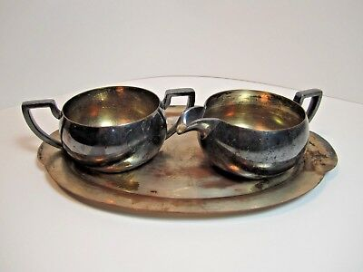 Vintage Taber & Tibbits Silverplate Tray with Cream and Sugar T & T