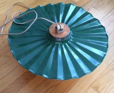 Vintage Green Metal Rustic Industrial Fluted Ruffled Hanging Light Fixture