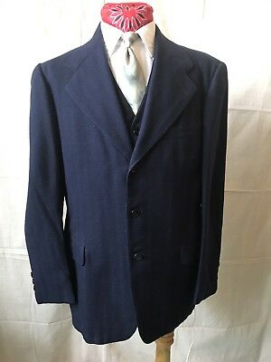 Vintage 1930s 1940s 3-piece Swing Gangster Suit 40 R