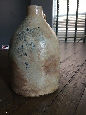 ANTIQUE 1 Gallon  STONEWARE JUG w/ BLUE FLOWER At Least 200 Years Old