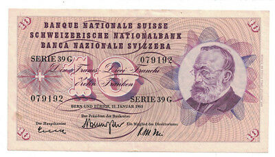 Switzerland - 1.21.1965 10 Francs Banknote (P-45j)
