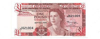 Gibraltar - 20th November 1975 One Pound Banknote (P-20a) - Very Nice!