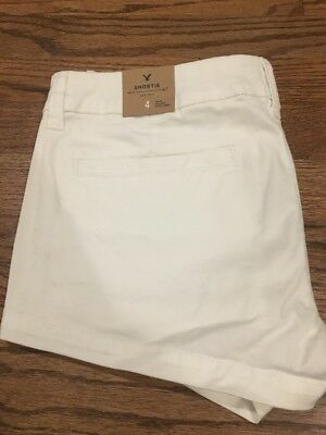 "American Eagle Women's White Stretch ""Shortie"" Shorts - Size 4 - NWT"