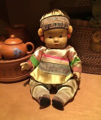 Antique 1930's Chinese Composition Ming Ming Doll, Original Clothing, Near Mint.