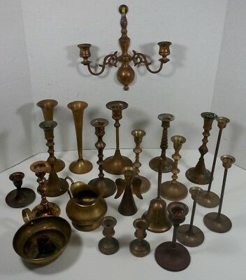 Mixed Lot 22 Vintage Solid Brass items Candlesticks Candle Holder Drip Cup