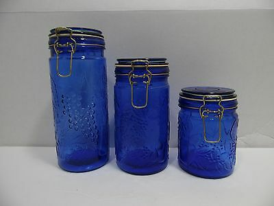 Cobalt Blue Glass Canister Set of 3 Locking Bail Lid Rubber Seal Grapes Storage