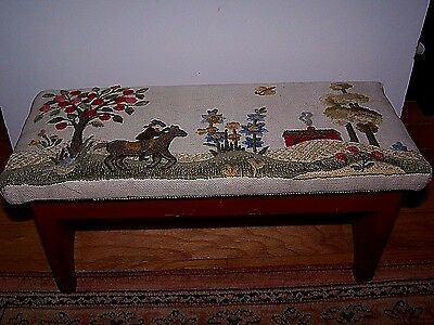 "Vintage Little Embroidered Landscape Hand Made Wood Painted Red Stool 15""x6 1/2"""