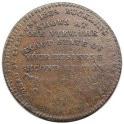 1834 Hard Times Token, Troy, NY: Bucklin's Interest Tables, scarce Low 77, VF