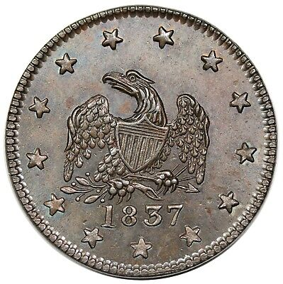 1837 Hard Times Token, New York, NY: S Maycock & Co, Low 126, HT-290, choice UNC