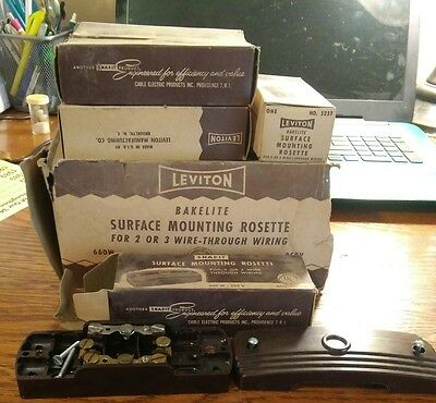 Lot of 14 Leviton Bakelite Surface Mount Pass-Through Junction Box - 2 or 3 Wire