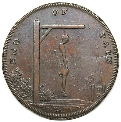 """1793 Great Britain Halfpenny Conder Token, Middlesex, """"End of Pain"""", VF-XF det."""