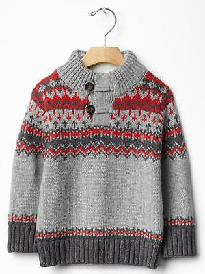 4T Baby Gap Boys Sherpa Lined Fair Isle Sweater toddler 4 years gray red button