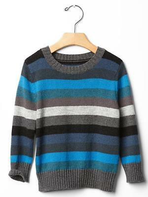 5T Baby Gap Boys Stripe Crewneck Sweater toddler 5 years gray blue navy