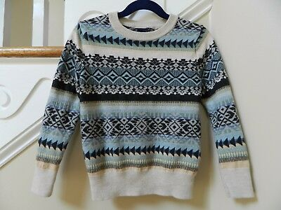 5T Baby Gap Boys Fair Isle Crewneck Sweater toddler 5 years gray blue natural