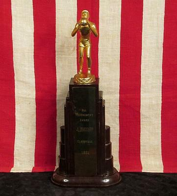 "Vintage 1950s Basketball Tournament Trophy Claysville H.S. Bakelite 14"" J.Hudson"