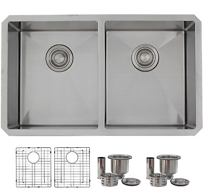 "30"" Premium Handcrafted Undermount 18G Stainless Steel Sink with Grids S304G"