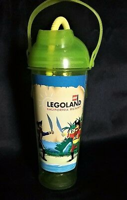 Green LEGOLAND Lego Pirate Reef Water Bottle Container with Straw Handle