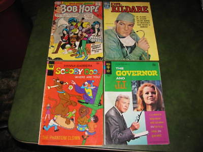 Lot of 4 Vintage TV comic books Scooby Doo Dr Kildaire Governor and JJ Bob Hope
