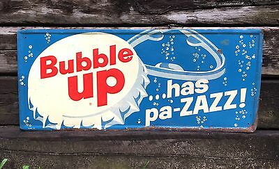 RARE Vintage BUBBLE UP Has pa-ZAZZ Tin Embossed Button Advertising Sign