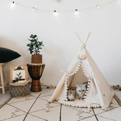 Luxury  Teepee Pet House - 28 Inch Beige Elegant Cat Dog Puppy Tent Bed