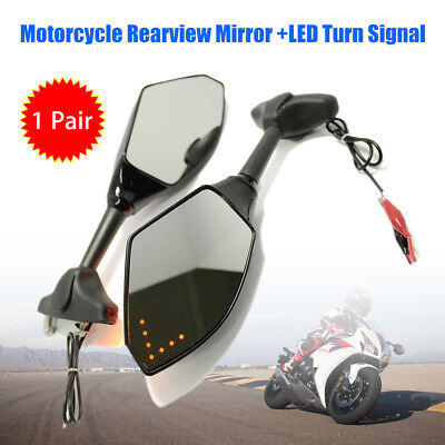 2pcs Motorcycle Rearview Left & Right Mirror Turn Signal LED Light Mount Black
