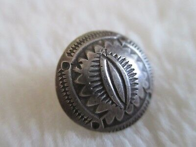 *antique/vintage Native American.925+ Sterling/coin Silver Stamped Button 5/8""