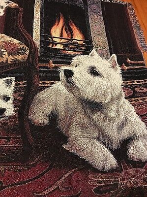 "WESTIE DOG WEST HIGHLAND TERRIER TAPESTRY AFGHAN THROW BLANKET 70"" x 53"", New"