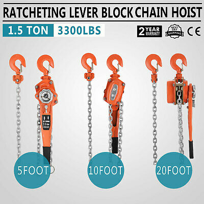 Chain Lever Hoist Come Along Ratchet Lift 1.5 Ton Capacity $0 SHIP 5',10',20' FT