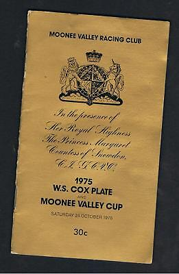 Horseracing Programme. 1975 W.s.cox Plate & Moonee Valley Cup.