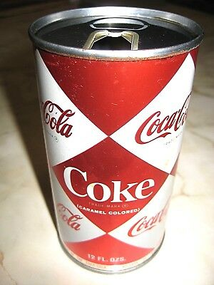 Vintage 1960's COCA COLA - Multiple Diamonds - Pull Tab Soda Can - Chicago