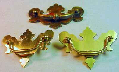 "Pair Ornate Brass Drawer Pulls 4 1/4 x 3 1/8"" Plus One Larger Pull"