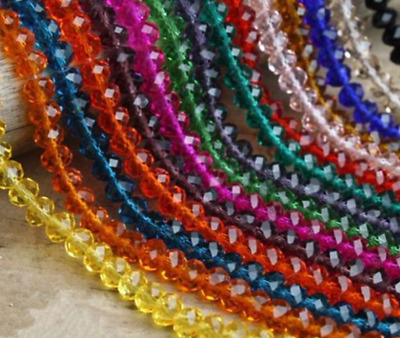4mm/6mm/8mm/10mm Rondelle Faceted Crystal Glass Loose Spacer Beads Crafts Charms
